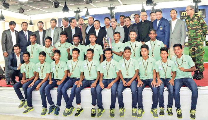 Bangladesh Under-14 footballers felicitated