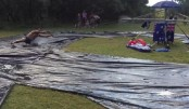 Australians construct motorised water slide to celebrate summer