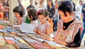 Hundreds of children throng Ekushey book fair on Thursday
