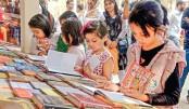 Hundreds of children throng Ekushey book fair on Thursday