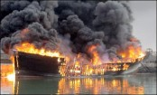 4 burnt as oil-laden vessel catches fire in Barisal Kirtankhola river