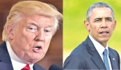 Trump claims Obama behind protests and White House leaks