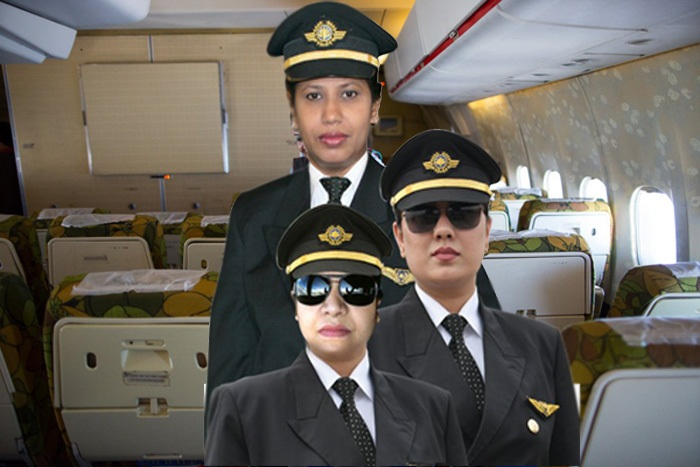 Nat'l airline operates all-women domestic flight