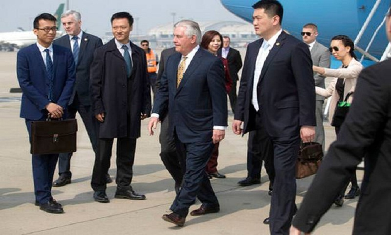 Tillerson arrives in Beijing to talk on South China Sea dispute