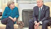 Tensions show as Trump, Merkel meet for first time