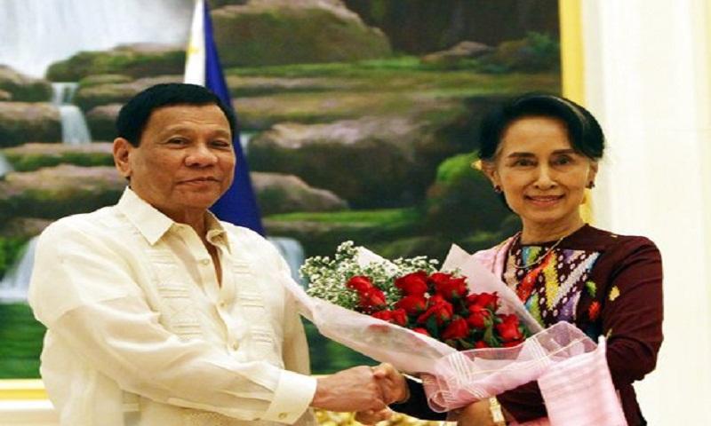 Duterte meets Myanmar's Suu Kyi