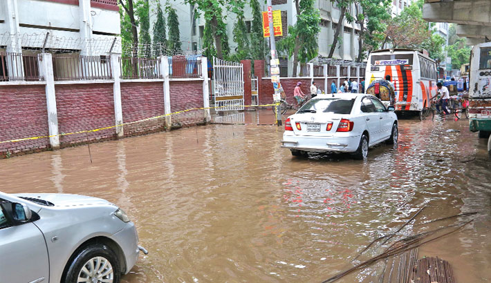 The busy road goes under water