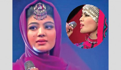 Afghan music contest pits first female finalist against