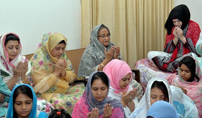 PM attends milad for her grandfather Sheikh Lutfar Rahman