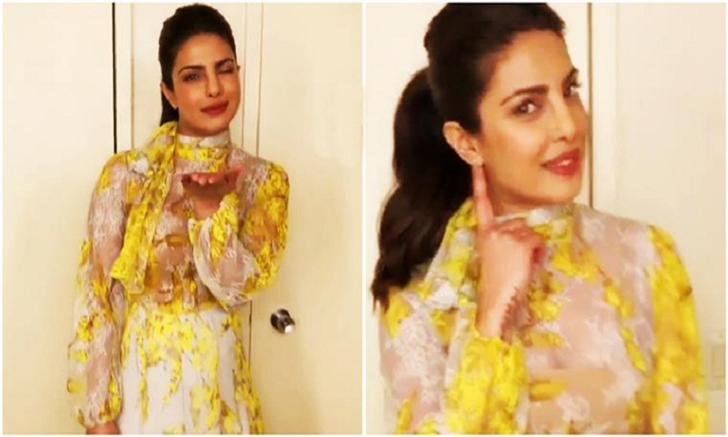 Priyanka Chopra looks lovely in yellow Blumarine dress