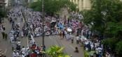 Islami Andolon takes street in Baitul Mukarram area demanding removal of statue