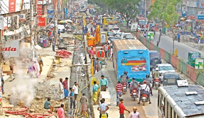 Road digging compounds sufferings of city people