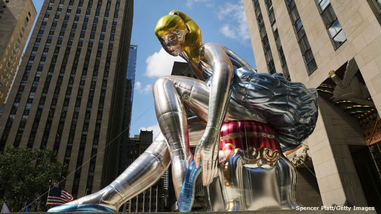 Inflatable sculpture of ballerina by Jeff Koons unveiled