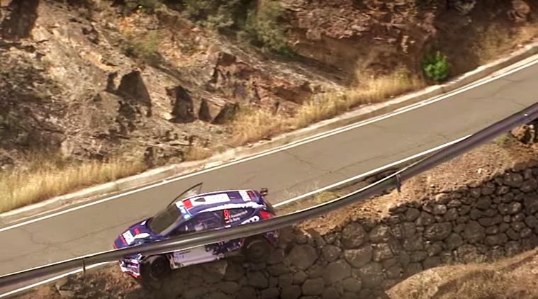 Rally car dangerously misses falling off cliff in Spain (Video)