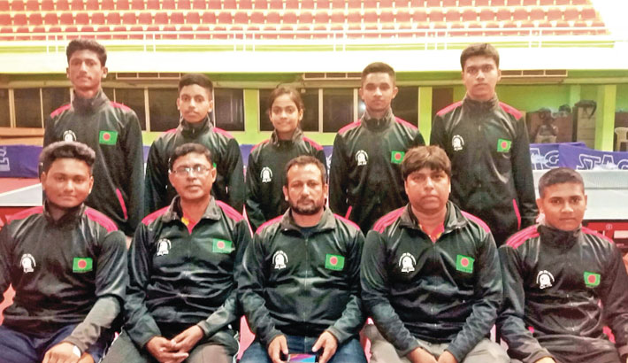 Bangladesh Junior and Cadet Team pose before their departure for Sri Lanka on Thursday
