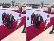 Melania Trump slaps off President Trump's hand in front of World media (Video)