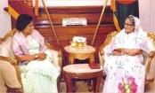 Chandrika Kumaratunga calls on Prime minister Sheikh Hasina