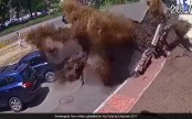 Massive water pipe explosion destroys cars, smashes windows (Video)