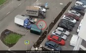When flying dumpster landed on top of a man (Video)