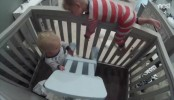 Toddler teaches baby brother how to escape crib (Video)