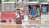 Flooded street after heavy rain in Guwahati