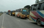 Vehicles move at a snail's pace on Dhaka-Tangail highway