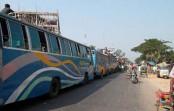 Slow traffic on Dhaka-Tangail highway