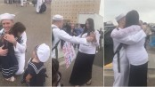 Wife surprises sailor with baby (Video)