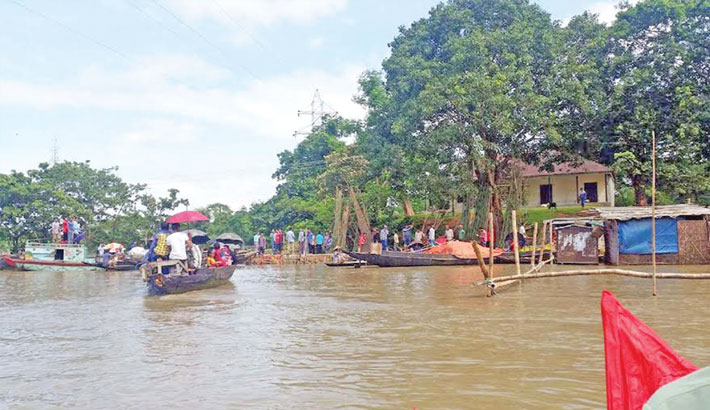 Water in rivers in flood-hit southwestern districts of Sylhet