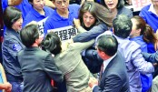 Taiwan MPs go for the jugular in parliament brawl