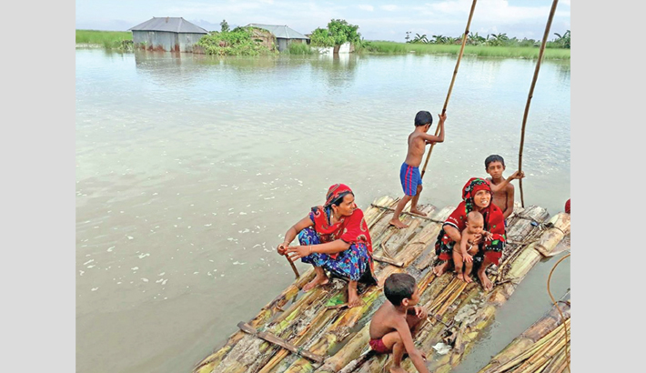 Some flood-hit women and children