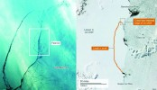 Drifting Antarctic iceberg A-68 opens up clear water