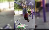 Grandma swings on monkey bar like it's no big deal (Video)