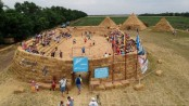 Straw-made stadium built in Russia to mock $720m World Cup venue