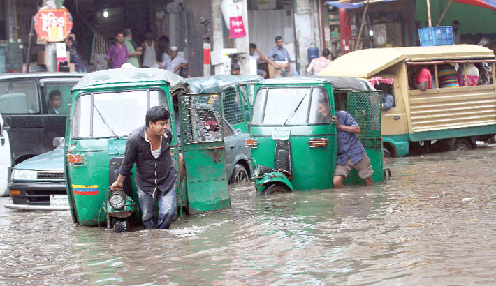 Hour-long rain submerges many city streets