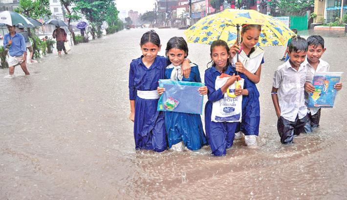 School in a Rainy Day