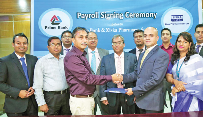 Prime Bank signs payroll deal with Ziska Pharma
