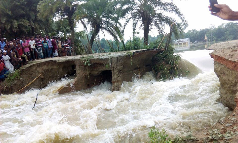 Five more flood control embankments break in Raninagar