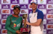 Captains unveil Test series trophy