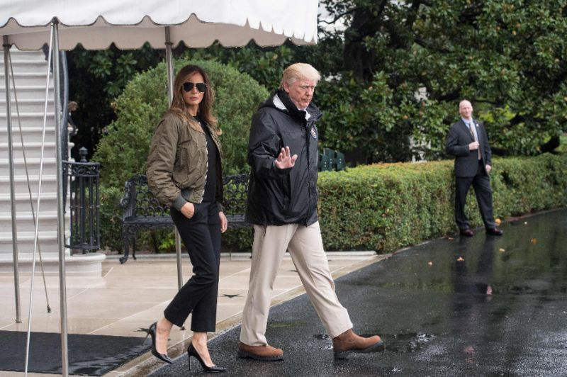 Melania and Donald Trump ridiculed for their bizarre Hurricane Harvey outfit choices