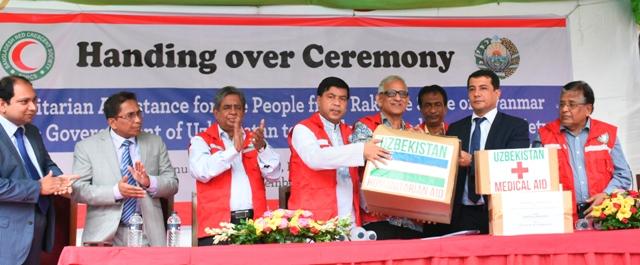 Uzbek Govt hands over relief goods to BDRCS for Rohingyas