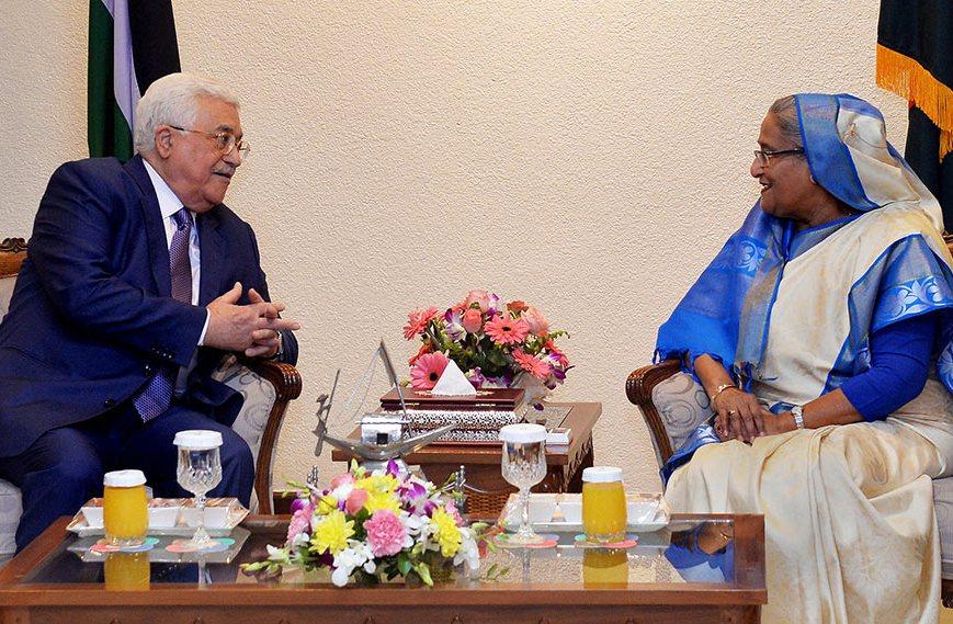Hasina-Mahmoud Abbas discuss Rohingya issues