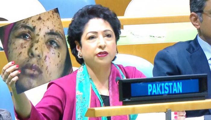 Pakistan envoy shows 'fake photo' claiming Indian atrocities on Kashmiris