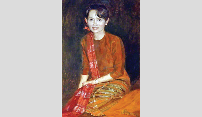 Suu Kyi's portrait removed from Oxford Varsity College gate