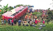 Seven killed as bus skids off highway