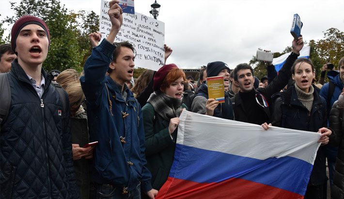 Russian protesters rally on Putin's birthday