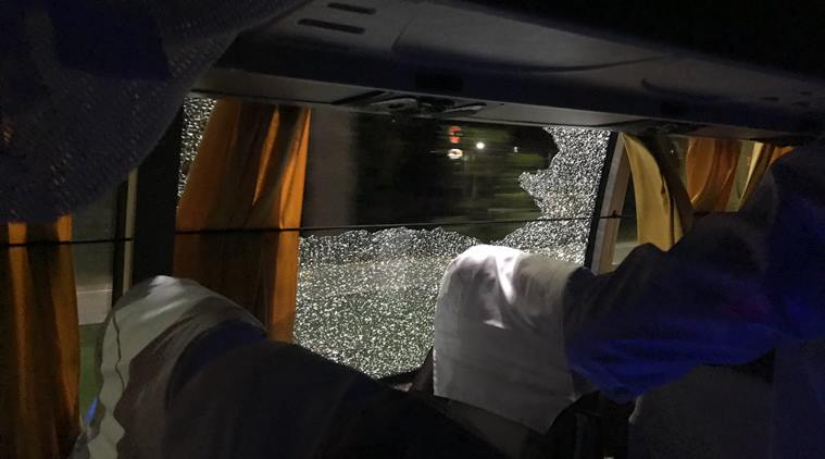 Rock thrown at Australian cricket team bus after win over India