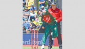 Shakib Al Hasan bowls during their second ODI