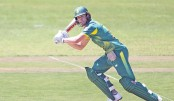 AB de Villiers plays a shot during their second ODI