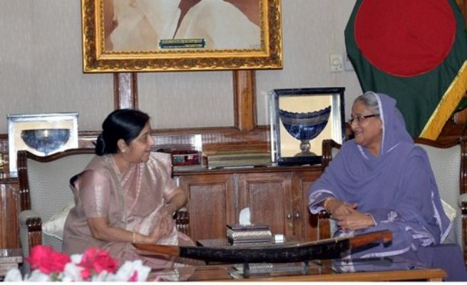 Myanmar must take back its nationals, Sushma tells Hasina